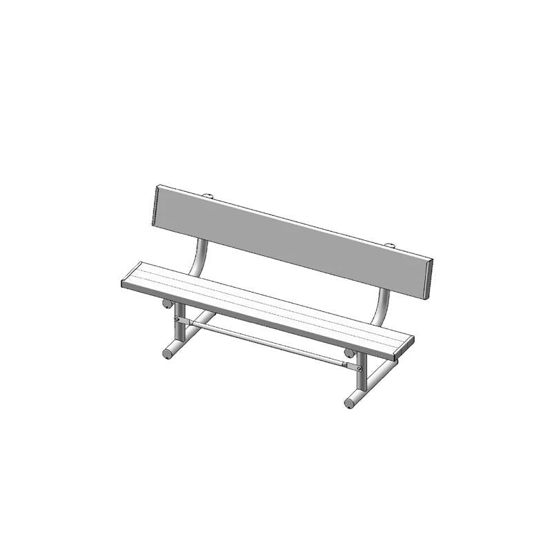 "6' Park Bench With Back, 2""x10"" Planks, Portable, Aluminium (940)"