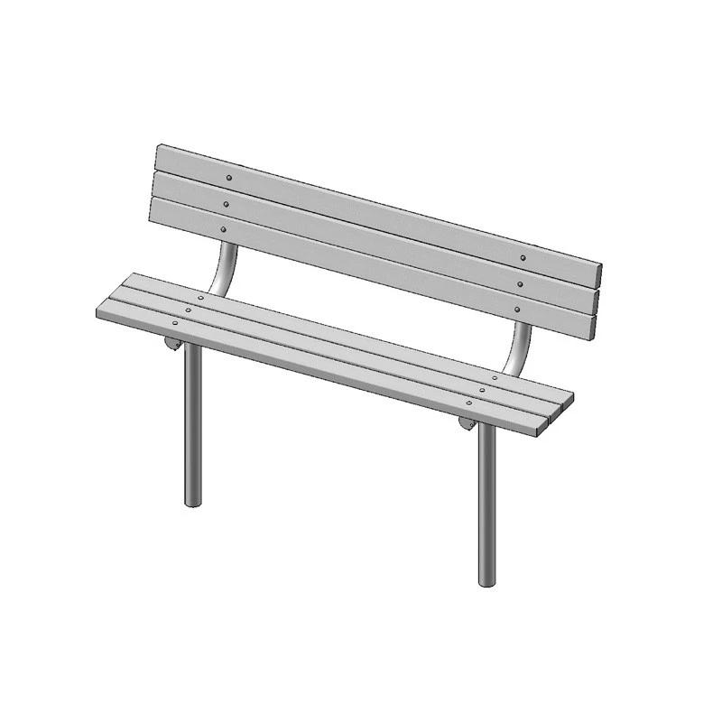 "6' Park Bench With Back, 2""x4"" Planks, Inground (940)"