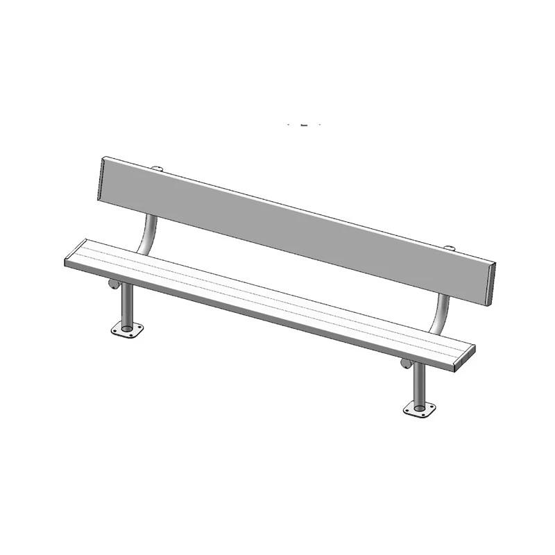 "8' Park Bench With Back, 2""x10"" Planks, Surface Mount, Aluminium (940)"