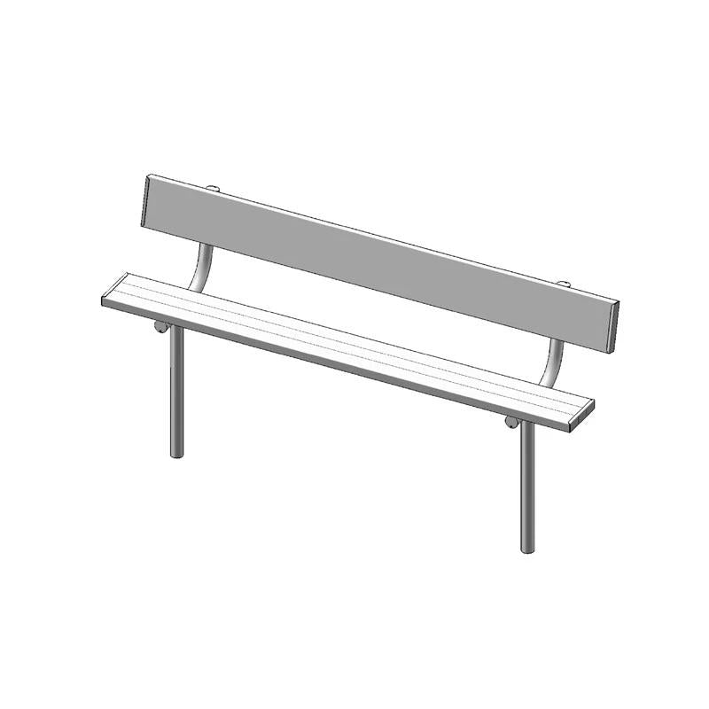 "8' Park Bench With Back, 2""x10"" Planks, Inground, Aluminium (940)"