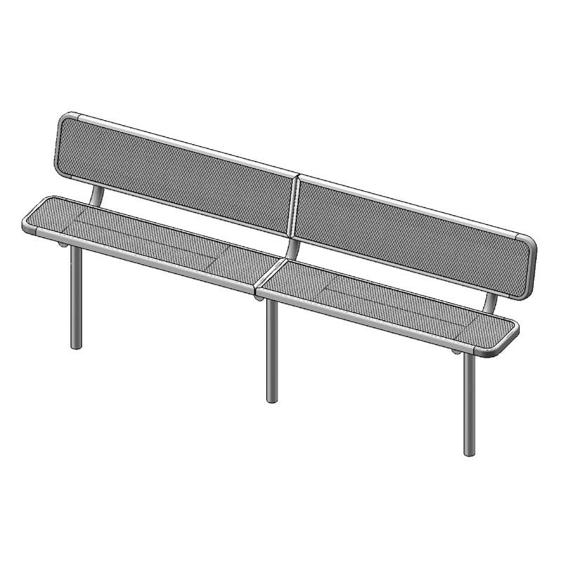 "10' Deluxe Bench With Back, 2""x15"" Planks, Inground (940)"