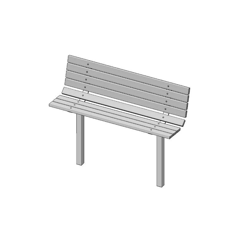 "6' Single Sided Bench, 8-Slat, 2""x4"" Planks, Inground (982)"
