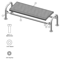 6' Contour Bench Without Back, Surface Mount (966)
