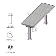 8' Multi Pedestal Utility Table, Surface Mount (349)