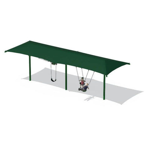"5"" SINGLE POST SWING FRAME WITH SHADE(8') - 2 BAY"