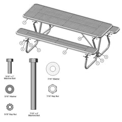 8' Heavy Duty Table With Bolt-Through Frame (BT158)