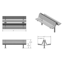 "8' Double Sided Double Pedestal Bench, 2""x4"" Planks, Surface Mount (960)"