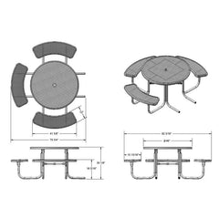 "3-Seat, 46"" Round Table (358H)"
