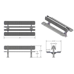 8' Double Sided Bench, Surface Mount (962)