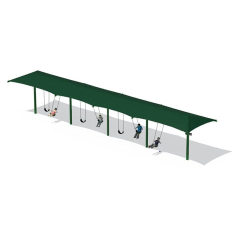 "5"" SINGLE POST SWING FRAME WITH SHADE(8') - 4 BAY"