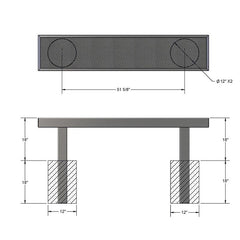 6' Mall Bench Without Back, Inground (932)