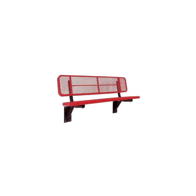 "8' Deluxe Bench With Back, 2""x15"" Planks, Wall Mount (940)"