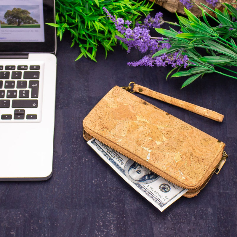 Gold detail cork zipper wallet all cork inside Natural eco vegan women wallet Bag-324-E