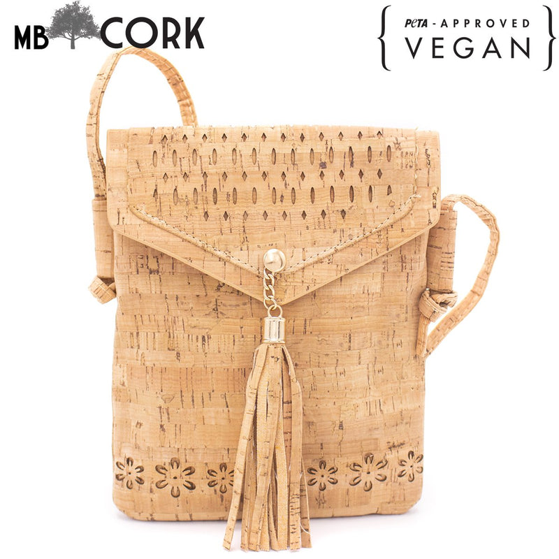 Laser cut crossbody natural cork girls phone bag with tassel BAG-605
