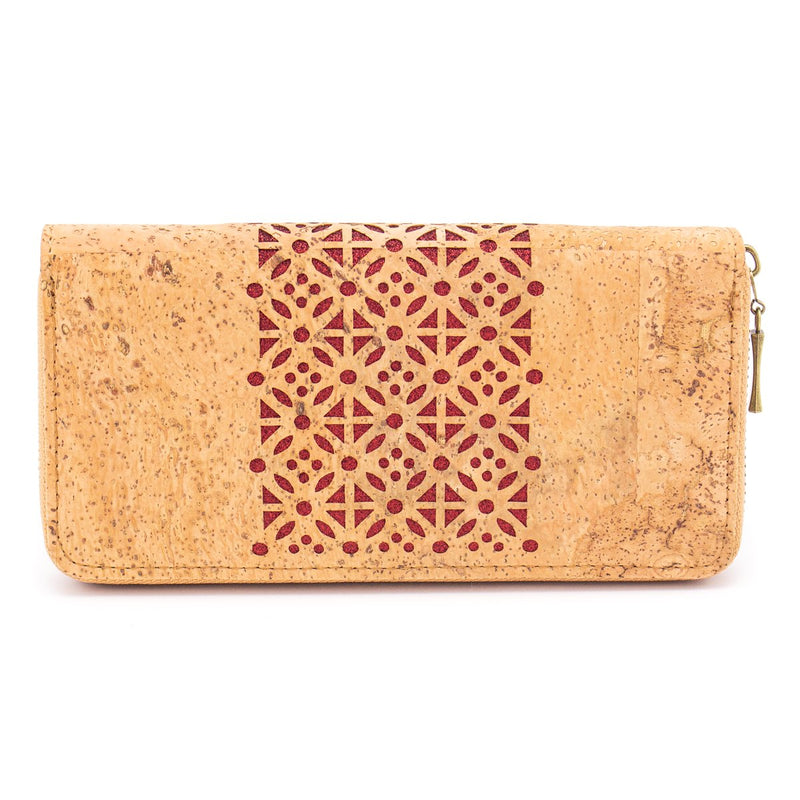 Natural cork Laser cute style women zipper card vegan wallet BAG-328-C