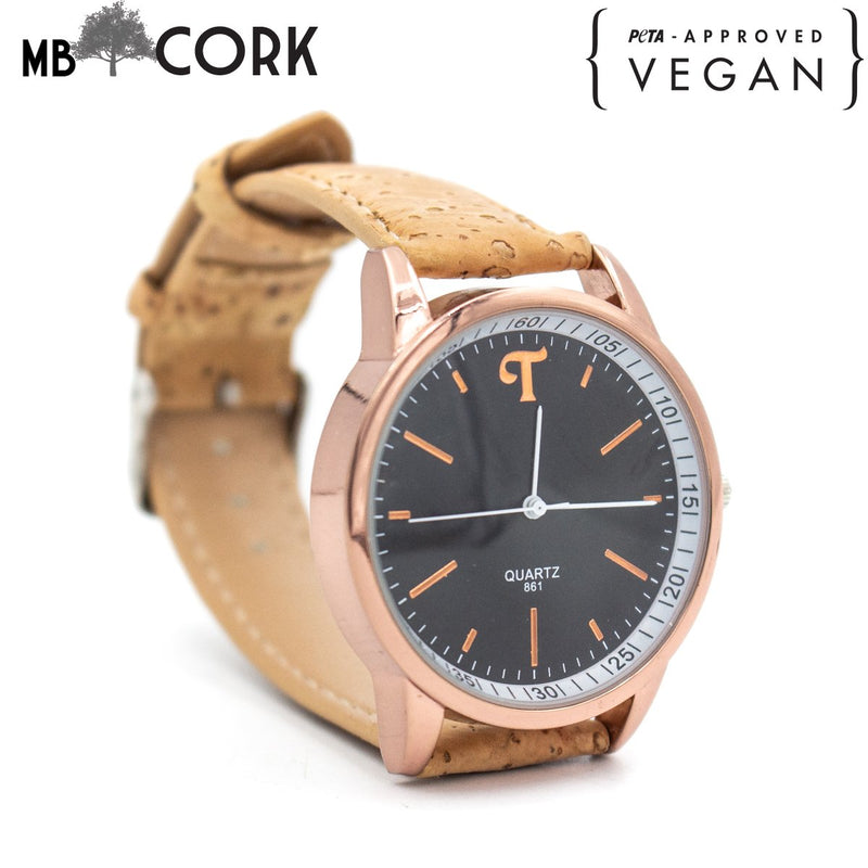 Cork watch natural cork with black watch for unisex adults WA-101-A