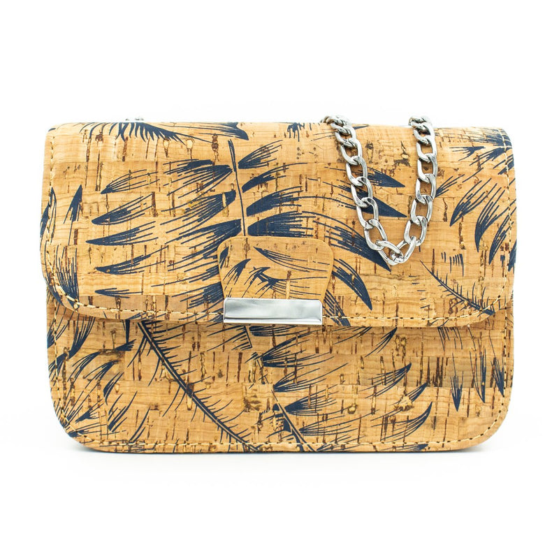 Natural cork fabric with feather Girl bodycross Bag-296-A