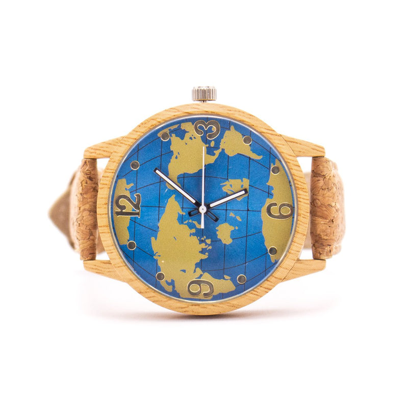 Natural cork strap with world map wood color stainless steel watch WA-118