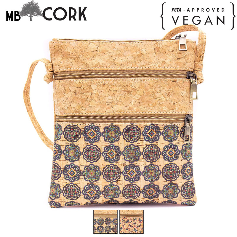 Natural cork with pattern double zipper crossbody purse bag BAG-625