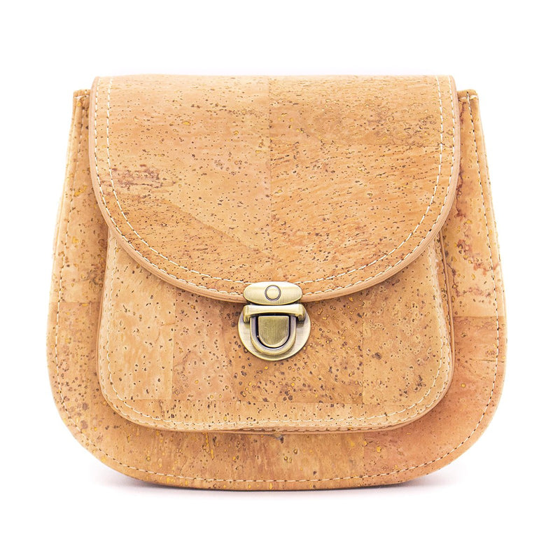 Natural Cork with golden silver Vegan Crossbody Bag BAG-274-ABC-1