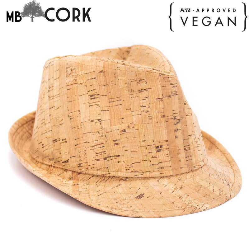 Natural cork trilby and fedora hats L-502