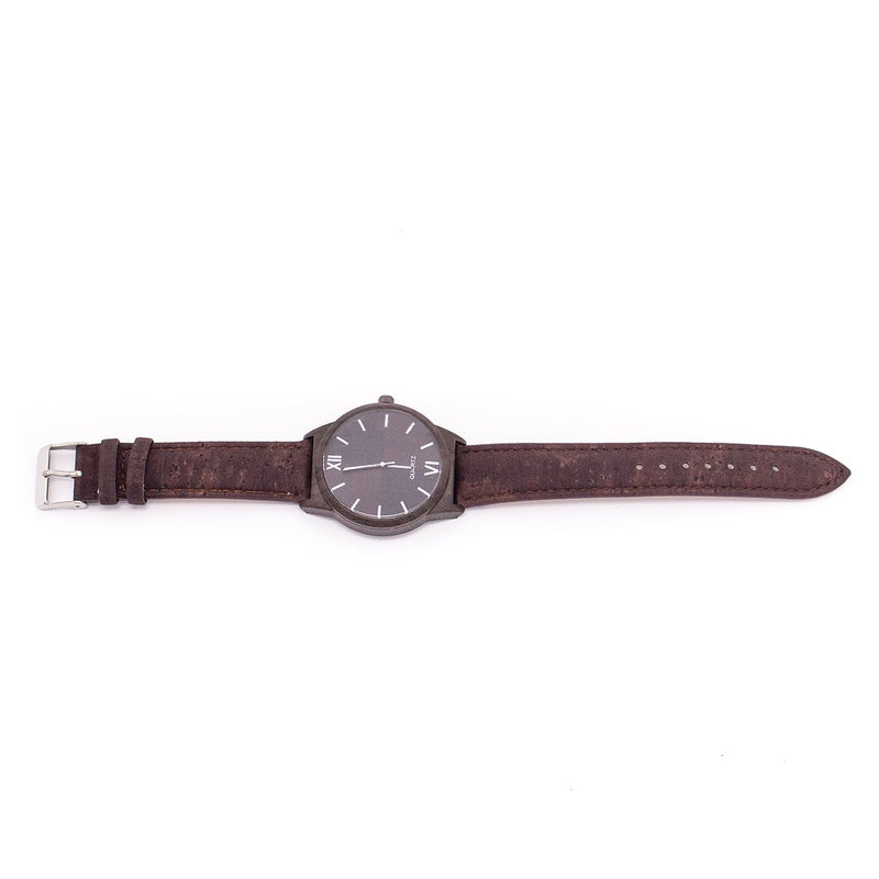 Brown cork watch with Box wood color unisex WA-BOX-116