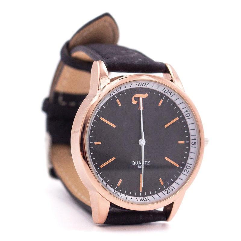 Black and white watch with black cork strap WA-101-B