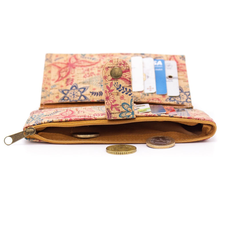 Natural cork zipper women card wallet with flower pattern BAG-350-G/P/S/T/255
