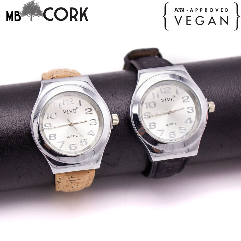 Cork watch for men with brown/natural/black strap in box  WA-132-A/B