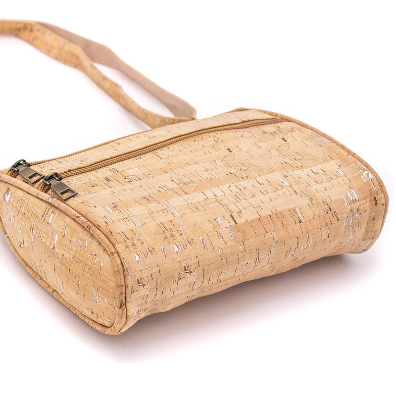 Natural with silver cork crossbody bag BAG-161