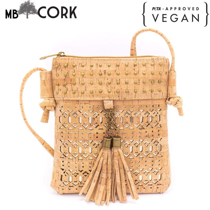 Laser cut crossbody natural cork women small bag with tassel BAG-608-AB