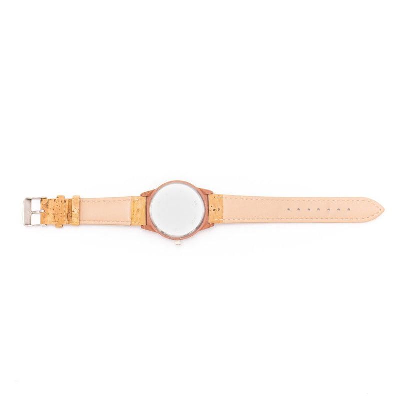 Natural cork watch strap with light brown wood color watch face unisex watch WA-117