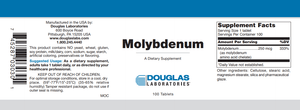 Molybdenum - 100 Tablets Default Category Douglas Labs