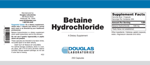Betaine Hydrochloride - 250 Capsules