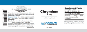 Chromium (1 mg.) - 100 Tablets Default Category Douglas Labs