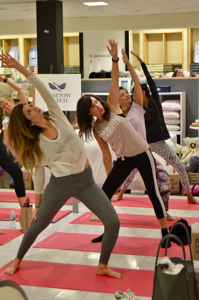 Margaux Minutolo & Dana Prigge at Bloomingdales Yoga for Breast Cancer Awareness Month. World Peace & Prosecco Knit