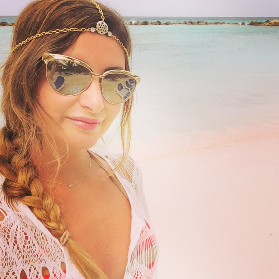 Margaux KARMA for a cure Mykonos Healing Halo Headchain in Aruba