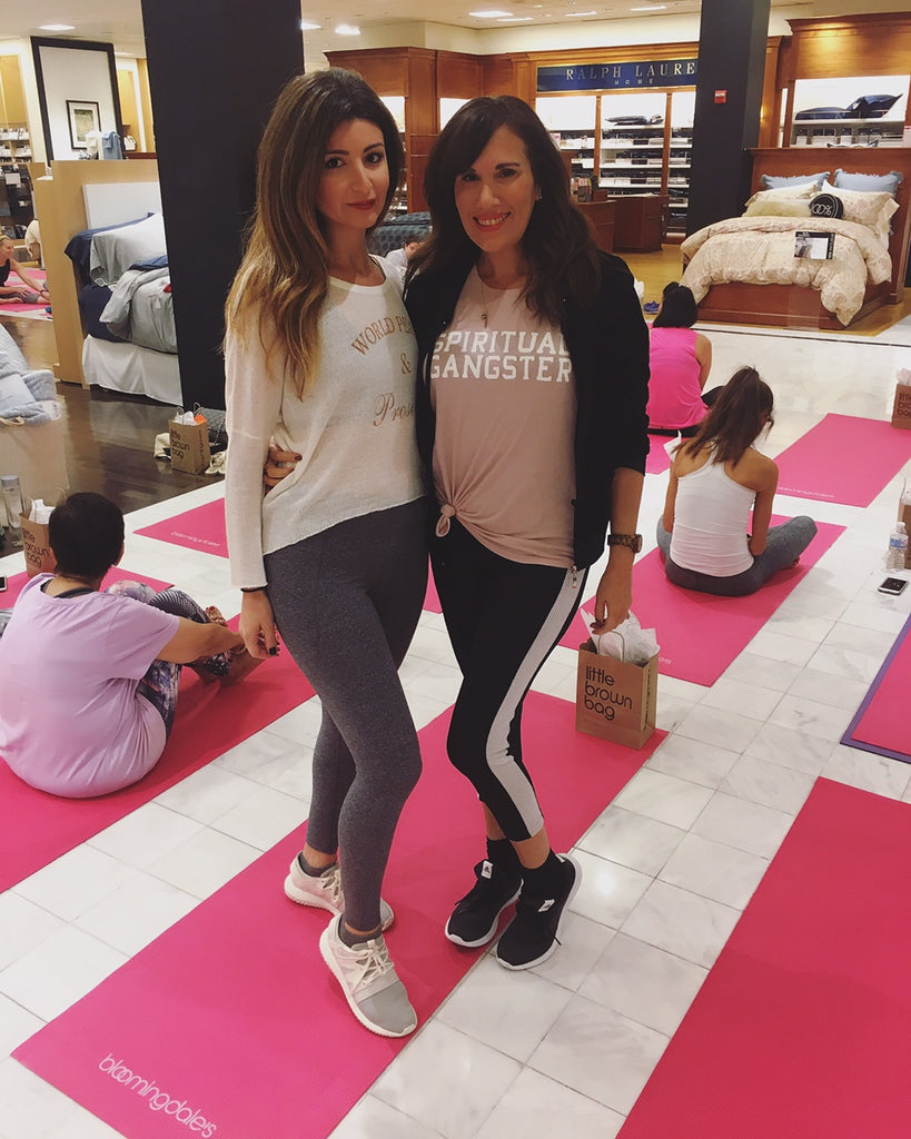 Margaux Minutolo & Dana Prigge at Bloomingdales Yoga for Breast Cancer Awareness Month