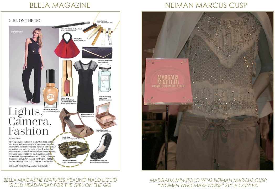KARMA for a cure in Bella Magazine, Margaux Minutolo Wins Neiman Marcus Cusp Contest
