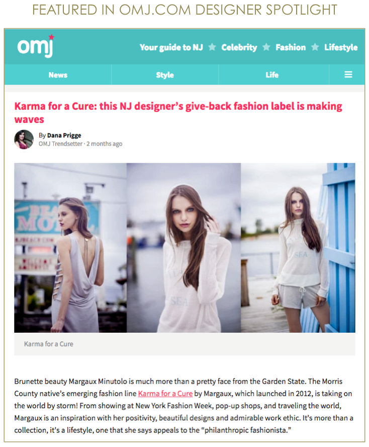 OMJ.COM KARMA for a cure by Margaux Press, Designer Spotlight