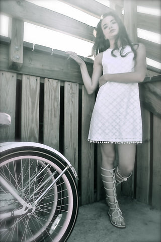Diamond Print Pom Pom Dress in soft white cotton for summer - KARMA for a cure