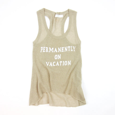 Permanently on Vacation Knit Tank Top by KARMA for a cure in nude