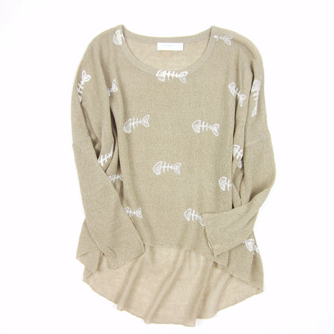 Bonefish Knit Sweater in desert sand nude yarn with watercolor painted bonefish - KARMA for a cure by Margaux