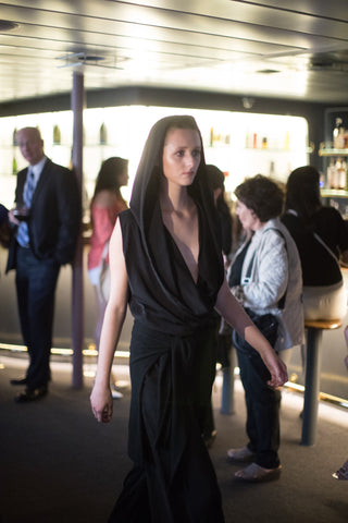 Black Capri Traveler Hoodie Tank in silky fabric as seen on runway of NYFW - KARMA for a cure by Margaux