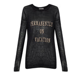 Permanently on Vacation Knit Sweater - KARMA for a cure by Margaux - A black knit sweater with nude screen-print made for a vacation state of mind