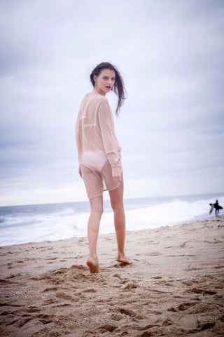 """Let the Sea Set You Free"" Knit Cardigan Cover-Up in Nude - KARMA for a cure by Margaux"