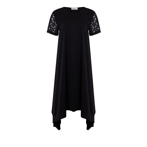 Capri Floral Tee Dress in black silky fabric with embroidered sleeves - KARMA for a cure by Margaux NYFW