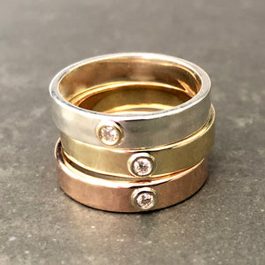 """Liquid Metal"" narrow Hammered Band with Diamond in Sterling and 14K Gold (Size 7)"