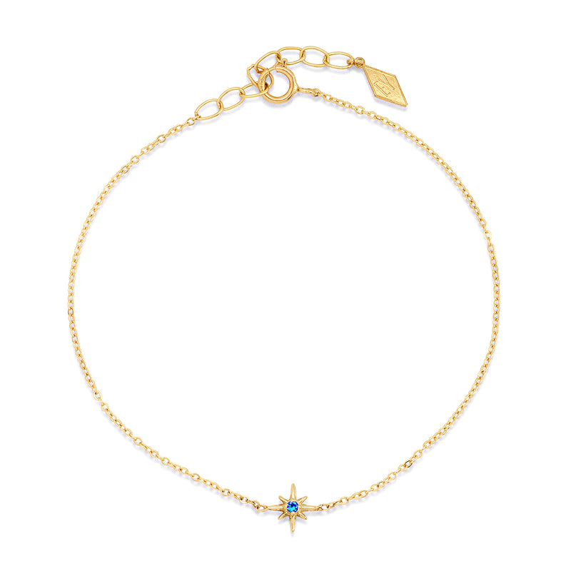 Celestial Tiny North Star Bracelet with Diamond, Ruby, Sapphire