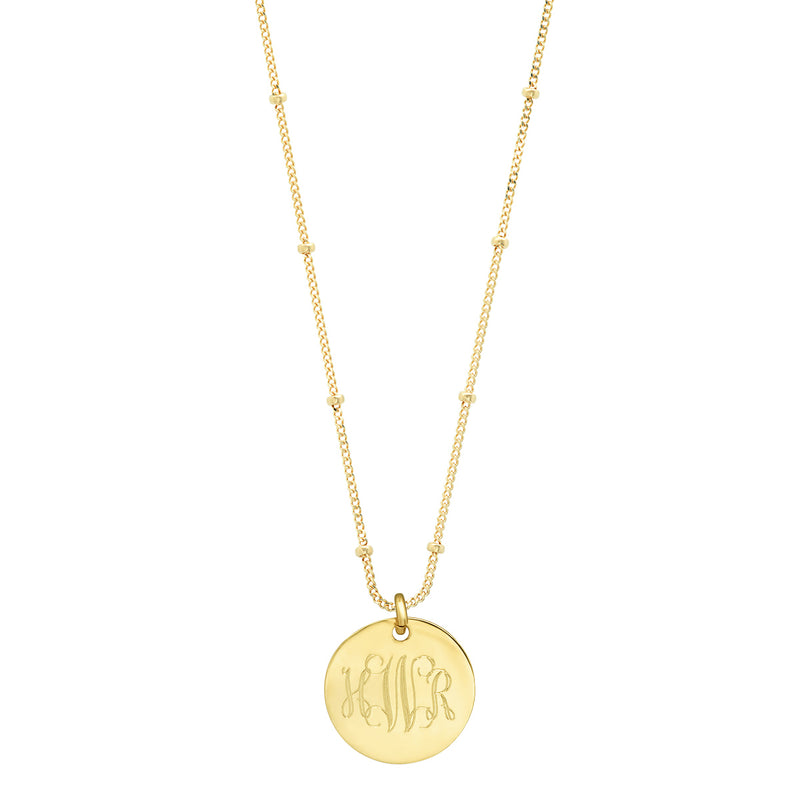 "Polished 14K Gold disc on 18"" ""Sepulveda"" Satellite chain:  ENGRAVABLE"